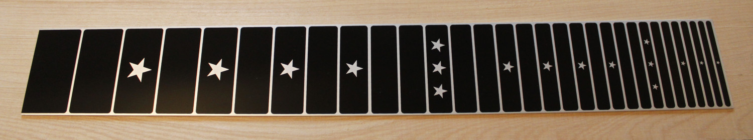 anodised aluminium screen printed fretboard